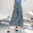 skirt Summer of 2018 S,M,L grey longuette commute Natural waist stripe Type A D31203 literature
