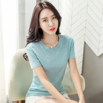 T-shirt White, black, purple, brown, green, bean green S,M,L,XL,2XL,3XL Summer 2020 Short sleeve Crew neck easy Regular routine commute cotton 96% and above Korean version originality Solid color HYGF-TX9319-19
