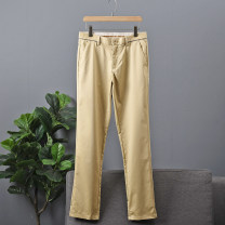 Casual pants Y-JIN SKY Youth fashion khaki 29,30,31,32,33,34,35,36,37,38,40 routine trousers Other leisure Straight cylinder JSJ1V031A spring youth Basic public 2021 middle-waisted Straight cylinder Overalls Assembly Solid color Non brand