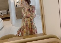 Dress Summer of 2019 Picture color (in stock) XS,S,M Middle-skirt singleton  Long sleeves commute V-neck High waist Socket A-line skirt other Others Type A Korean version Pleating, printing XX681