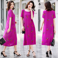 Middle aged and old women's wear Summer 2020 Color 1, color 2, color 3, color 4, color 5, color 6, color 7, color 8, color 9, color 10, color 11, color 12 XL(  ),2XL(  ),3XL(  ),4XL(  ),5XL(  ) ethnic style Dress easy singleton  Solid color 40-49 years old Socket thin Crew neck Medium length routine