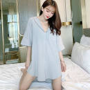 Nightdress A sweet talk Temperament gray, Korean powder, white, avocado, orange, sapphire blue M is suitable for 70-100kg, l is suitable for 100-120kg Simplicity Short sleeve pajamas Short skirt summer Solid color youth Shirt collar Polyester (polyester) Button decoration More than 95% other