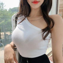 T-shirt Black, white S,M,L Summer 2021 Short sleeve Slant collar Self cultivation Regular other commute Viscose 86% (inclusive) -95% (inclusive) 25-29 years old Korean version classic TX25 backless