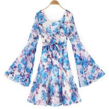 Dress Spring 2020 G11 blue flower liyq Average size Short skirt singleton  Crew neck High waist Decor