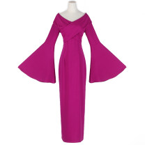 Dress Spring 2021 B20 × zh86 purple red M,L,XL,2XL longuette Long sleeves V-neck High waist Solid color pagoda sleeve 51% (inclusive) - 70% (inclusive)