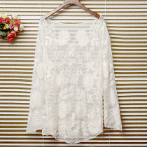 Lace / Chiffon Summer of 2018 White, black, apricot Average size Long sleeves commute Socket singleton  easy Medium length Crew neck Solid color cotton