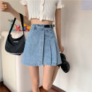 skirt Summer 2020 XS,S,M,L White, blue Short skirt Versatile High waist Irregular Solid color Type A 18-24 years old 51% (inclusive) - 70% (inclusive) Denim Other / other other
