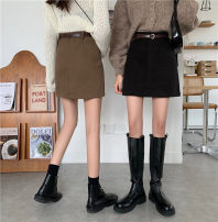 skirt Autumn 2020 XS,S,M,L Khaki, black Short skirt commute High waist A-line skirt Solid color 18-24 years old 30% and below polyester fiber Korean version