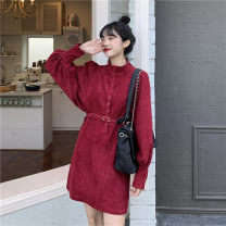 Dress Winter 2020 XS,S,M Short skirt singleton  Long sleeves commute stand collar High waist Solid color A-line skirt 18-24 years old Type A Korean version Button, lace up 71% (inclusive) - 80% (inclusive) other