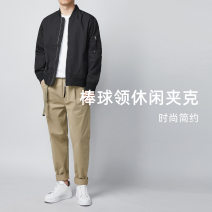 Jacket Other / other Fashion City Black, Khaki routine standard Other leisure spring Long sleeves Wear out stand collar youth Ordinary (50cm < length ≤ 65cm) Zipper placket 2021 other No process Regular sleeve Solid color Chemical fiber blend Save pocket other