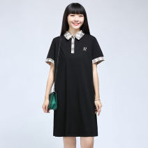 Women's large Summer 2020 Agate black Large XL, large XXL, large XXL, large L Dress singleton  commute thin Socket Short sleeve Plaid, solid Korean version Polo collar Medium length Cotton, nylon, others Three dimensional cutting routine 30-34 years old