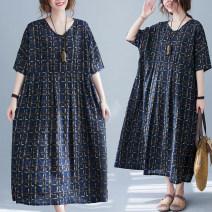 Women's large Summer 2021 Graph color Big size average Dress