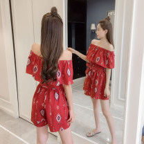 Dress Summer 2020 Red, white S. M, l, XL, 2XL, 500 pieces wholesale price Short skirt singleton  Short sleeve Sweet One word collar Elastic waist Abstract pattern Socket other Bat sleeve Others Type X Other / other Bandage, print