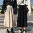 skirt Winter of 2018 Average size Apricot, black, brick red Mid length dress commute High waist Pleated skirt Solid color Type A 18-24 years old Other / other fold Korean version