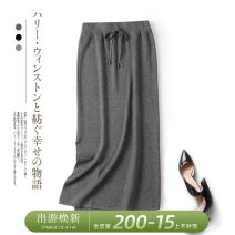 skirt Winter 2020 Average size Black, grey, brown commute High waist skirt Solid color Type H 81% (inclusive) - 90% (inclusive) other Rui Xian Split Simplicity