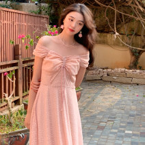 Dress Summer 2021 Cream apricot, girl pink S, M Mid length dress singleton  Short sleeve commute One word collar High waist Solid color Socket A-line skirt other Others 18-24 years old Type A lady Bows, open backs, folds, lacing, stitching, strapping, waves 31% (inclusive) - 50% (inclusive) other