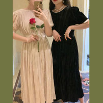 Dress Autumn 2020 Super white apricot, super thin black S, M Mid length dress commute Crew neck High waist Solid color Socket A-line skirt puff sleeve Others Type A Retro Backless, pleated, stitched, beaded, button, lace other