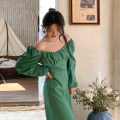 Dress Spring 2021 Rose red, Retro Green S, M longuette singleton  Long sleeves commute square neck High waist Solid color Single breasted A-line skirt routine Others 18-24 years old Type A Retro Open back, fold, button 31% (inclusive) - 50% (inclusive) other polyester fiber