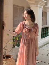 Dress Summer 2021 Cream apricot, bean paste powder S, M Mid length dress singleton  Short sleeve commute square neck High waist Solid color Socket A-line skirt Lotus leaf sleeve Others 18-24 years old Type A lady 31% (inclusive) - 50% (inclusive) other other