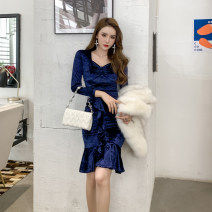 Dress Winter 2020 Dark blue, black S. M, l, XL, pay attention to shops, get coupons, small size Mid length dress singleton  Long sleeves commute square neck High waist Solid color zipper Ruffle Skirt routine Others 30-34 years old Type X Other / other Ol style Ruffles, flocking velvet nylon