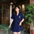 Women's large Spring 2021 blue Large XL, large XXL, large XXL, large XXXXL, large XXXXL Dress singleton  commute easy moderate Cardigan Short sleeve Solid color Korean version Polo collar polyester Collage routine Monica 25-29 years old Embroidery 96% and above Short skirt Princess Dress