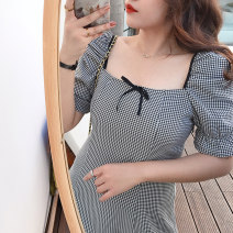 Women's large Summer 2020 lattice Large XL, large XXL, large XXL, large XXXXL, large XXXXL Dress singleton  commute easy moderate Socket Short sleeve Shape, grid, other Korean version square neck Polyester, others Collage puff sleeve Monica 25-29 years old Three dimensional decoration Short skirt bow
