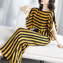 Jumpsuit / pants 96% and above trousers polyester fiber middle-waisted commute Black yellow stripe M (loose fit is suitable for parents who usually wear S-L), l (loose fit is suitable for parents who usually wear xl-2xl) routine Summer 2020 Wide leg pants Xinyuquan belt Pure e-commerce (online only)