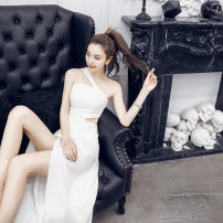 Dress / evening wear Weddings, adulthood parties, company annual meetings, daily appointments XS S M L White black Korean version longuette middle-waisted Autumn of 2018 Self cultivation Sling type zipper 18-25 years old Sleeveless Yibaixiu Pavilion Other 100% Pure e-commerce (online only)