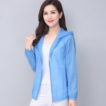 Middle aged and old women's wear Summer 2020 fashion Jacket / jacket easy singleton  Solid color 40-49 years old Cardigan thin Hood Short (length 35-50cm) routine pocket polyester 96% and above zipper