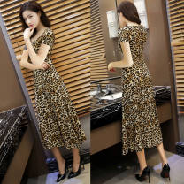 Dress Spring 2021 khaki M,L,XL,2XL,3XL,4XL Miniskirt singleton  Short sleeve commute Crew neck low-waisted Leopard Print other other routine Others 30-34 years old Type A Simplicity 31% (inclusive) - 50% (inclusive) other polyester fiber