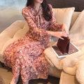 Dress Autumn 2020 Red, black, white vest M,L,XL,XXL longuette singleton  High waist Broken flowers Socket Irregular skirt Chiffon