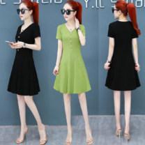 Dress Summer 2021 Green, black M,L,XL,2XL,3XL Miniskirt singleton  Short sleeve commute V-neck High waist Solid color Socket A-line skirt routine Others Type A Korean version