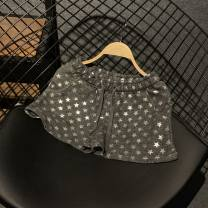 Casual pants Old dark grey, new black grey silver stars, new black grey gold stars M,L,XL Summer 2020 shorts Wide leg pants Natural waist street routine 81% (inclusive) - 90% (inclusive) cotton cotton Sports & Leisure