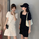 Women's large Summer 2021 White, black Large L, large XL, s, m, 2XL, 3XL, 4XL Dress singleton  commute thin Cardigan Short sleeve Korean version square neck routine routine Short skirt