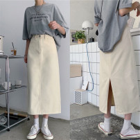 Women's large Summer 2021 white Large L, large XL, s, m, 2XL, 3XL, 4XL skirt singleton  commute Self cultivation Solid color Korean version Polo collar routine 18-24 years old 71% (inclusive) - 80% (inclusive) Medium length