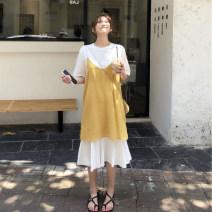 Women's large Spring 2021 Yellow suit Large L, large XL, s, m, 2XL, 3XL, 4XL Dress Two piece set commute Socket Medium length