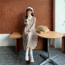 Dress Winter 2020 Coffee, light beige S,M,L,XL,2XL Mid length dress Fake two pieces Long sleeves commute High collar High waist Broken flowers Socket A-line skirt bishop sleeve Others 18-24 years old Type A Korean version Splicing