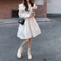 Dress Spring 2021 white Average size Mid length dress singleton  Long sleeves commute Doll Collar High waist Solid color Single breasted A-line skirt routine Others 18-24 years old Type A Other / other Korean version Button polyester fiber