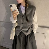 Vest Autumn 2020 White T-shirt, waistcoat, skirt Average size routine commute Single breasted 18-24 years old Other / other polyester fiber