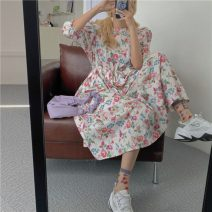Dress Summer 2021 Picture color Average size Mid length dress singleton  Short sleeve commute Crew neck High waist Broken flowers Socket puff sleeve Others 18-24 years old Type A Other / other Korean version