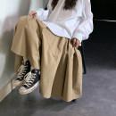 skirt Spring 2020 L=3 Black, green, Dark Khaki Mid length dress commute High waist High waist skirt Solid color 18-24 years old 31% (inclusive) - 50% (inclusive) Saixiaolazy cotton Korean version