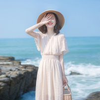 Dress Summer 2021 Picture color S,XL,L,M Mid length dress singleton  Short sleeve Sweet V-neck High waist Solid color Socket Big swing routine Others 18-24 years old Splicing 51% (inclusive) - 70% (inclusive) other polyester fiber