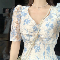 Dress Summer 2021 Picture color S,XL,L,M Mid length dress singleton  Short sleeve Sweet V-neck High waist Broken flowers Socket Big swing puff sleeve Others 18-24 years old Splicing 81% (inclusive) - 90% (inclusive) Chiffon