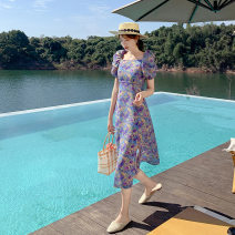 Dress Summer 2021 violet S,L,M Mid length dress singleton  Short sleeve square neck High waist Broken flowers Socket Big swing puff sleeve Others 18-24 years old Splicing 81% (inclusive) - 90% (inclusive) Chiffon polyester fiber