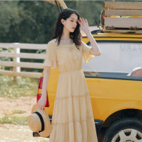 Dress Summer 2021 Green, yellow S,XL,L,M longuette singleton  Short sleeve commute square neck High waist Solid color Socket Big swing routine Others 18-24 years old Splicing 71% (inclusive) - 80% (inclusive) Chiffon