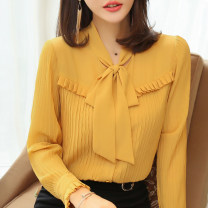 Lace / Chiffon Autumn 2020 S M L XL XXL XXXL Long sleeves commute Cardigan singleton  easy Regular Scarf Collar Solid color routine 35-39 years old Shanfei Lisa Auricular lace up button Korean version 96% and above Polyester 100% Pure e-commerce (online only) polyester fiber