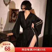 Nightgown / bathrobe Enjoy F & S / enjoymis female Tongma (85-140 kg) Black 882, white 882# Thin money sexy Polyester (polyester) 81% (inclusive) - 95% (inclusive) Solid color youth 882# Mosaic decoration 200g and below