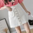 skirt Spring 2021 S,M,L,XL White, black Short skirt commute High waist A-line skirt Solid color Type A 18-24 years old 81% (inclusive) - 90% (inclusive) Denim cotton Pocket, button Korean version