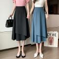 skirt Summer 2021 S,M,L,XL Blue, black longuette Versatile Natural waist Irregular Solid color Type A