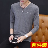T-shirt Youth fashion thin M L XL 2XL 3XL Hero Peck Long sleeves V-neck Self cultivation Other leisure spring T048 Cotton 95% polyurethane elastic fiber (spandex) 5% youth routine Youthful vigor Knitted fabric Spring of 2019 Solid color Button decoration Cotton ammonia Color world No iron treatment